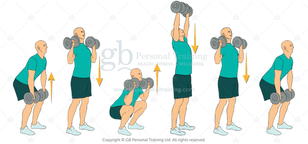 Dumbbell Clean Squat and Press