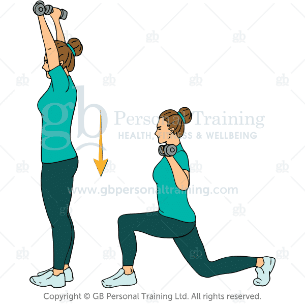 Dumbbell Reverse Lunge and Press