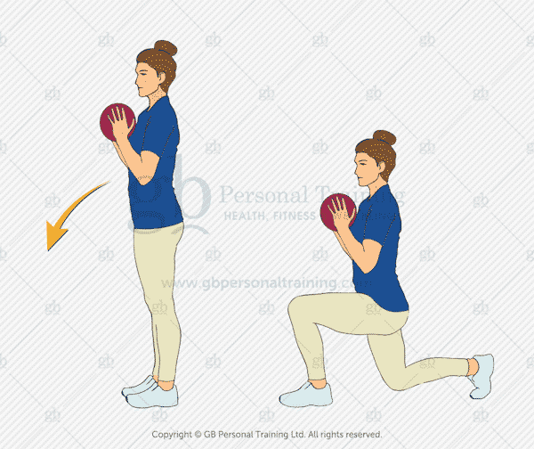Medicine Ball Reverse Lunge Exercise