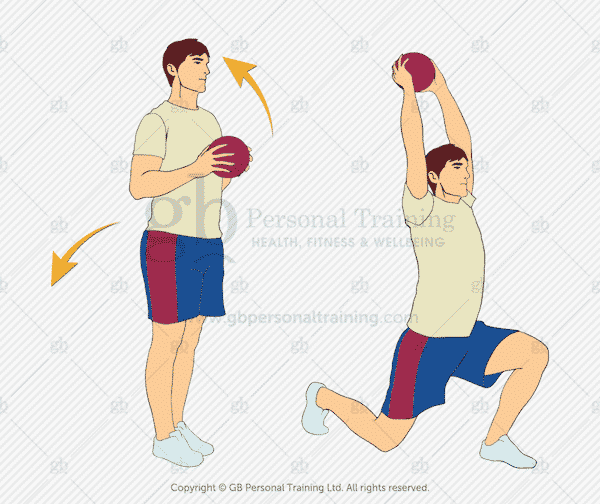 Medicine Ball Overhead Reach Reverse Lunge Exercise