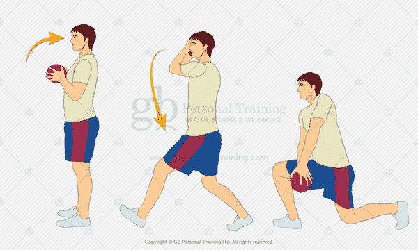 Medicine Ball Chopping Forward Lunge Exercise