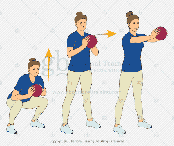 Medicine Ball Squat and Push Exercise