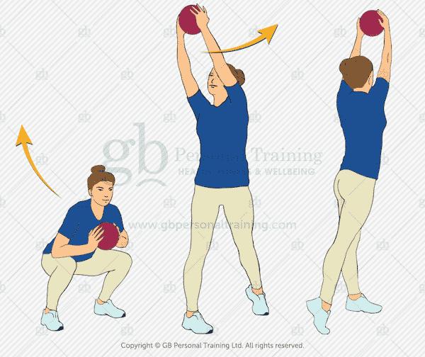 Medicine Ball Squat and Rotational Press Exercise