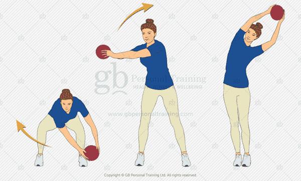 Medicine Ball Crescent Squat Exercise