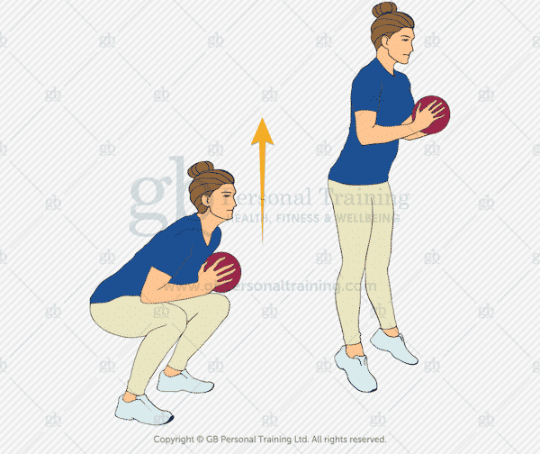 Medicine Ball Jumping Squats Exercise