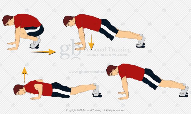 Valslide Push Ups to Squat Thrust